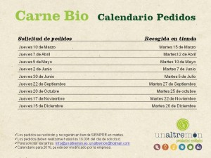 Calendario Pedidos Carne 2016